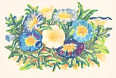 Colorful abstract floral wreath watercolor illustration Stock Photography