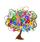 Colorful abstract flower tree Stock Photos