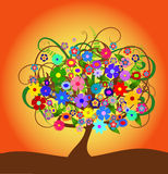 Colorful abstract flower tree Royalty Free Stock Photos