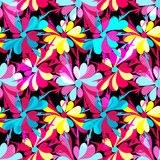 Colorful abstract flowers on a black background seamless pattern Stock Images