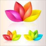 Colorful abstract flowers. Illustrated set of colorful abstract flowers on a studio background Royalty Free Stock Images