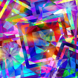 Colorful abstract geometric background with flowers Royalty Free Stock Photos