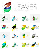 Colorful abstract geometric design leaves, icon set Royalty Free Stock Photos