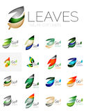 Colorful abstract geometric design leaves, icon set Royalty Free Stock Photography