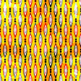 Colorful abstract geometric elements on a yellow background seamless pattern vector illustration Stock Photo