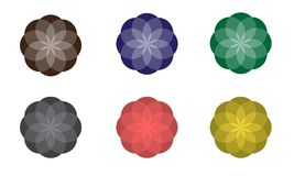 Colorful abstract geometric flowers. Vector symbolic ornaments vector illustration