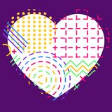 Colorful abstract geometric flux elements and heart for valentin. E's day or wedding vector illustration