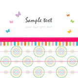 Colorful abstract greeting card circle and butterfly Royalty Free Stock Images