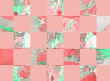 Colorful abstract background with squares. Colorful abstract hand painted geometric background with squares Royalty Free Stock Photography