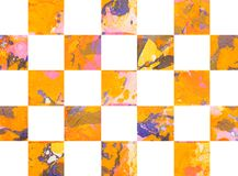 Colorful abstract geometric background with squares. Colorful abstract hand painted geometric background with squares Royalty Free Stock Images