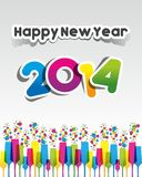 Colorful Abstract Happy New Year 2014 Card. Vector illustration Stock Photos