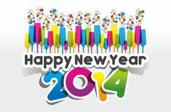 Colorful Abstract Happy New Year 2014 Card Stock Image