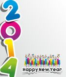Colorful Abstract Happy New Year 2014 Card Royalty Free Stock Photos