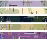 Colorful Abstract header with fantasy. Set of header made with floral fantasy Stock Images
