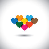 Colorful abstract heart or love icons - vector. This graphic also represents different human emotions & feelings like passion, happiness, etc Stock Photos