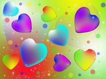 Colorful abstract hearts. Multicolored hearts on a bright colored background Royalty Free Stock Photos