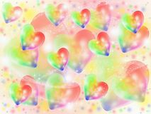 Colorful abstract hearts. Multicolored hearts flying on a light background Royalty Free Stock Photography