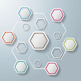 Colorful Abstract Hexagons Infographic 6 Options. White hexagos with shadows on the grey background. Eps 10  file Stock Images