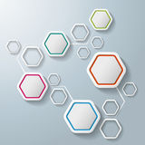 Colorful Abstract Hexagons Infographic 5 Options. White hexagos with shadows on the grey background. Eps 10  file Royalty Free Stock Image