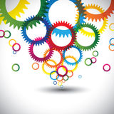 Colorful abstract icons of cogwheel or gears - vector background royalty free illustration