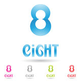 Colorful and abstract icons for number 8, set 5 Stock Photo