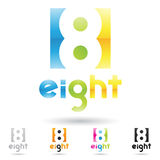 Colorful and abstract icons for number 8, set 1 Royalty Free Stock Image