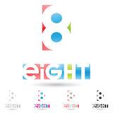 Colorful and abstract icons for number 8, set 8. Vector illustration of colorful and abstract icons for no eight royalty free illustration