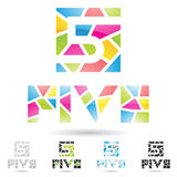 Colorful and abstract icons for number 5, set 9. Vector illustration of colorful and abstract icons for no five stock illustration