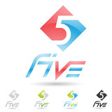 Colorful and abstract icons for number 5, set 7 Stock Images