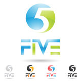 Colorful and abstract icons for number 5, set 4 Stock Photos