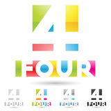 Colorful and abstract icons for number 4, set 2. Vector illustration of colorful and abstract icons for no four stock illustration