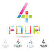 Colorful and abstract icons for number 4, set 8. Vector illustration of colorful and abstract icons for no four royalty free illustration