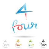 Colorful and abstract icons for number 4, set 3 Stock Image