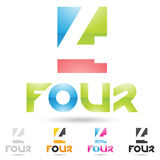 Colorful and abstract icons for number 4, set 9 Royalty Free Stock Photography
