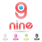Colorful and abstract icons for number 9, set 8 Royalty Free Stock Image