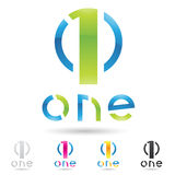 Colorful and abstract icons for number 1, set 2 Royalty Free Stock Photos