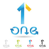 Colorful and abstract icons for number 1, set 3 Royalty Free Stock Photo
