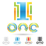 Colorful and abstract icons for number 1, set 6 Royalty Free Stock Photo