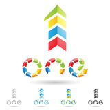 Colorful and abstract icons for number 1, set 8 Stock Images