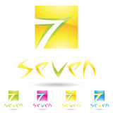 Colorful and abstract icons for number 7, set 5 Royalty Free Stock Image