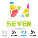 Colorful and abstract icons for number 7, set 1. Vector illustration of colorful and abstract icons for no seven royalty free illustration