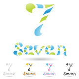 Colorful and abstract icons for number 7, set 8 Royalty Free Stock Images