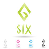 Colorful and abstract icons for number 6, set 6 Stock Images