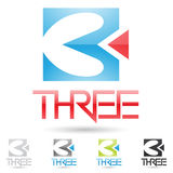 Colorful and abstract icons for number 3, set 2 Stock Photography