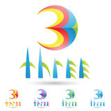 Colorful and abstract icons for number 3, set 5 Royalty Free Stock Photos