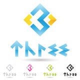 Colorful and abstract icons for number 3, set 9 Royalty Free Stock Photos