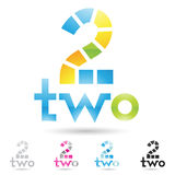 Colorful and abstract icons for number 2, set 2 Stock Photography