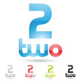 Colorful and abstract icons for number 2, set 3. Vector illustration of colorful and abstract icons for no two stock illustration