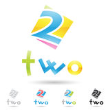 Colorful and abstract icons for number 2, set 4 Stock Photos