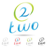 Colorful and abstract icons for number 2, set 9 Stock Photos